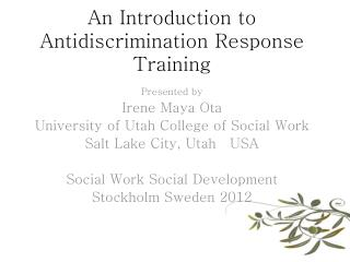 An Introduction to Antidiscrimination Response Training