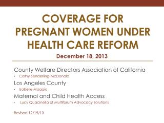 COVERAGE FOR Pregnant women under Health Care reform