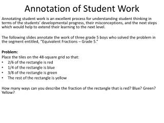 Annotation of Student Work