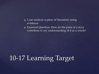 10-17 Learning  Target