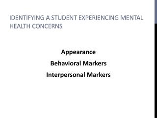 Identifying a Student experiencing mental health concerns