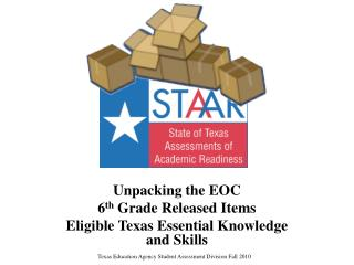 Unpacking the EOC 6 th  Grade Released Items Eligible Texas Essential Knowledge and Skills