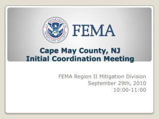 Cape May County, NJ  Initial Coordination Meeting