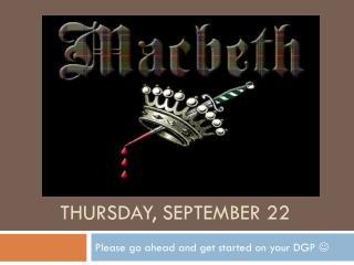 Thursday, September 22