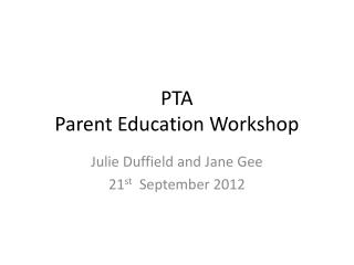PTA Parent Education Workshop