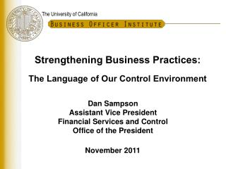 Strengthening Business Practices: The Language of Our Control Environment