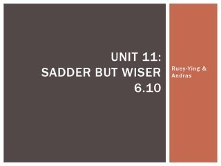 Unit 11:  Sadder but wiser 6.10