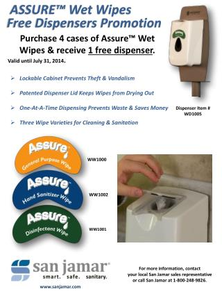 ASSURE™ Wet Wipes Free Dispensers Promotion