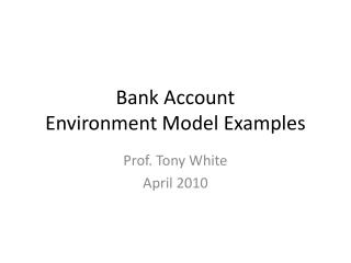 Bank Account Environment  Model Examples