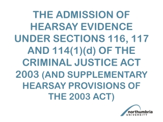Hearsay 2: Specific Exceptions