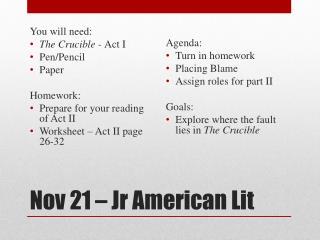 Nov 21 –  Jr  American Lit