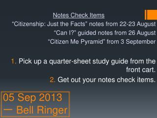 05 Sep 2013 一 Bell Ringer