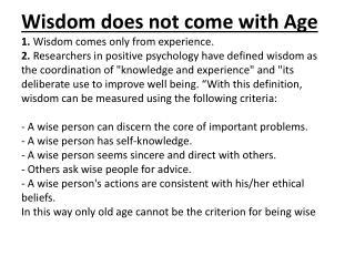 Wisdom with Age