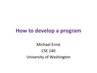 How to develop a program