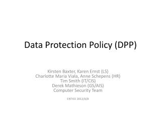 Data  Protection Policy (DPP)