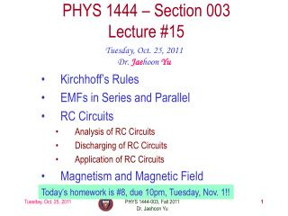 PHYS 1444 – Section  003 Lecture  #15