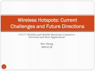 Wireless Hotspots: Current Challenges and Future Directions