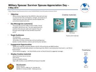 Military Spouse/ Survivor Spouse Appreciation Day – 9 May 2014