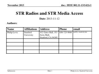 STR Radios and STR Media Access