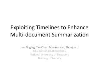 Exploiting Timelines to Enhance Multi-document Summarization