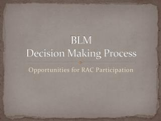 BLM  Decision Making Process
