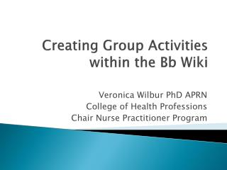 Creating Group Activities within the Bb Wiki