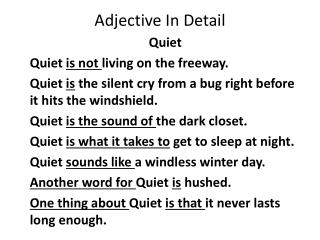 Adjective In Detail