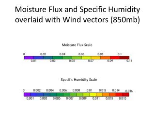 Moisture Flux and Specific Humidity overlaid with Wind vectors (850mb)
