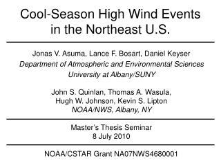 Cool-Season High Wind Events in the Northeast U.S.