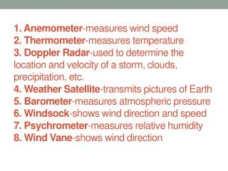 Weather Instrument Definitions