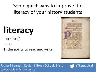 Some quick wins to improve the literacy of your history students