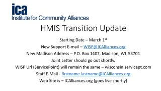 HMIS Transition Update