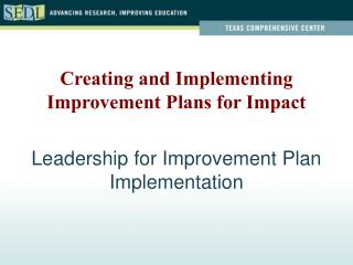 Leadership for Improvement Plan Implementation