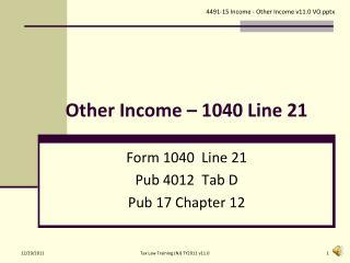 Other Income – 1040 Line 21