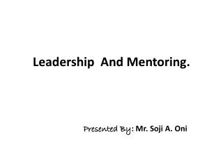 Leadership  And Mentoring.