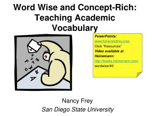 Word Wise and Concept-Rich: Teaching Academic Vocabulary