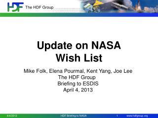 Update on NASA  Wish List