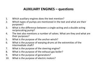 AUXILIARY ENGINES – questions