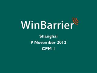 Shanghai  9  November 2012 CPM 1
