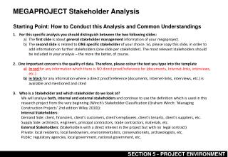 MEGAPROJECT Stakeholder Analysis