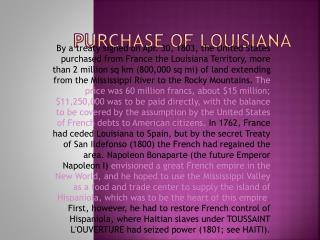 PURCHASE OF LOUISIANA