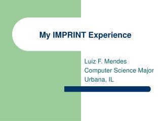 My IMPRINT Experience Luiz F. Mendes