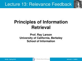 Lecture  13:  Relevance Feedback