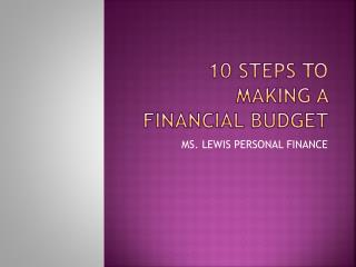 10 steps to making a financial budget