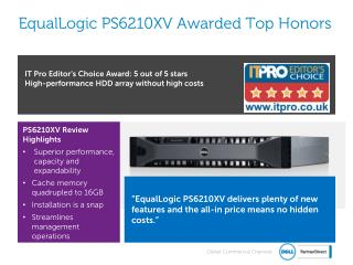 EqualLogic  PS6210XV Awarded Top Honors