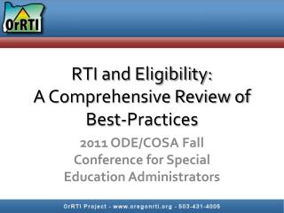 RTI and Eligibility:  A Comprehensive Review of Best-Practices