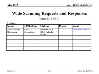 Wide Scanning Requests and Responses