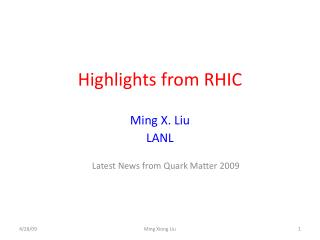 Highlights from RHIC