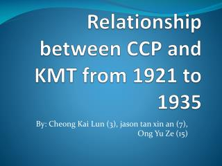 Relationship between CCP and KMT from 1921 to 1935