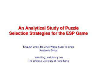 An Analytical Study of Puzzle Selection Strategies for the ESP Game